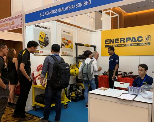 Image shows the SLS Bearings Malaysia Sdn Bhd booth for Enerpac products