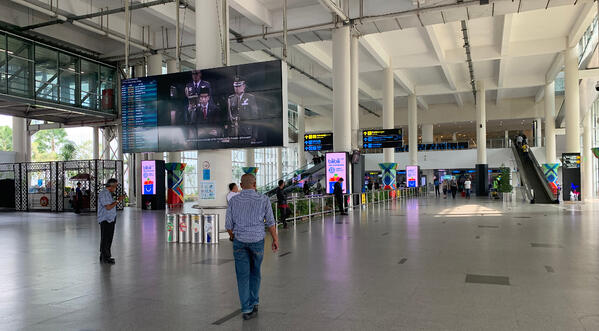 image shows the arrival hall of Medan Airport in Indonesia