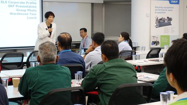 Image shows SLS Malaysia Sales & Marketing Director, Ms Regina Tan delivering a welcome speech to customers