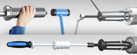 Image shows the oil injection method and the SKF TMMK combi kit series