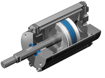 Sectional view of a pneumatic linear actuator