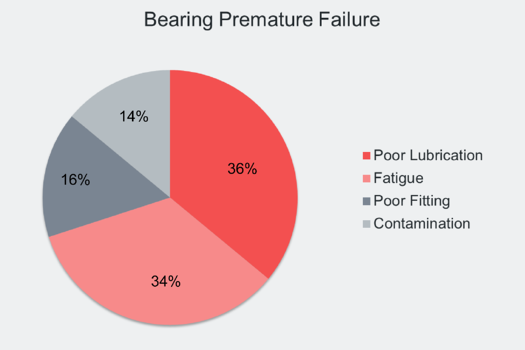 Image shows a chart on the causes of bearing premature failure