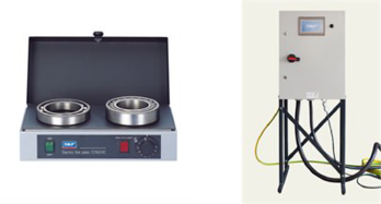 Image shows a hot plate featuring two bearings on the left and a heat cabinet on the right