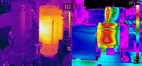 image shows a thermal scans of a rotating equipment