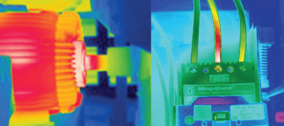 image shows the thermal scan of gear motor on the left and a thermal scan of a circuit board on the right