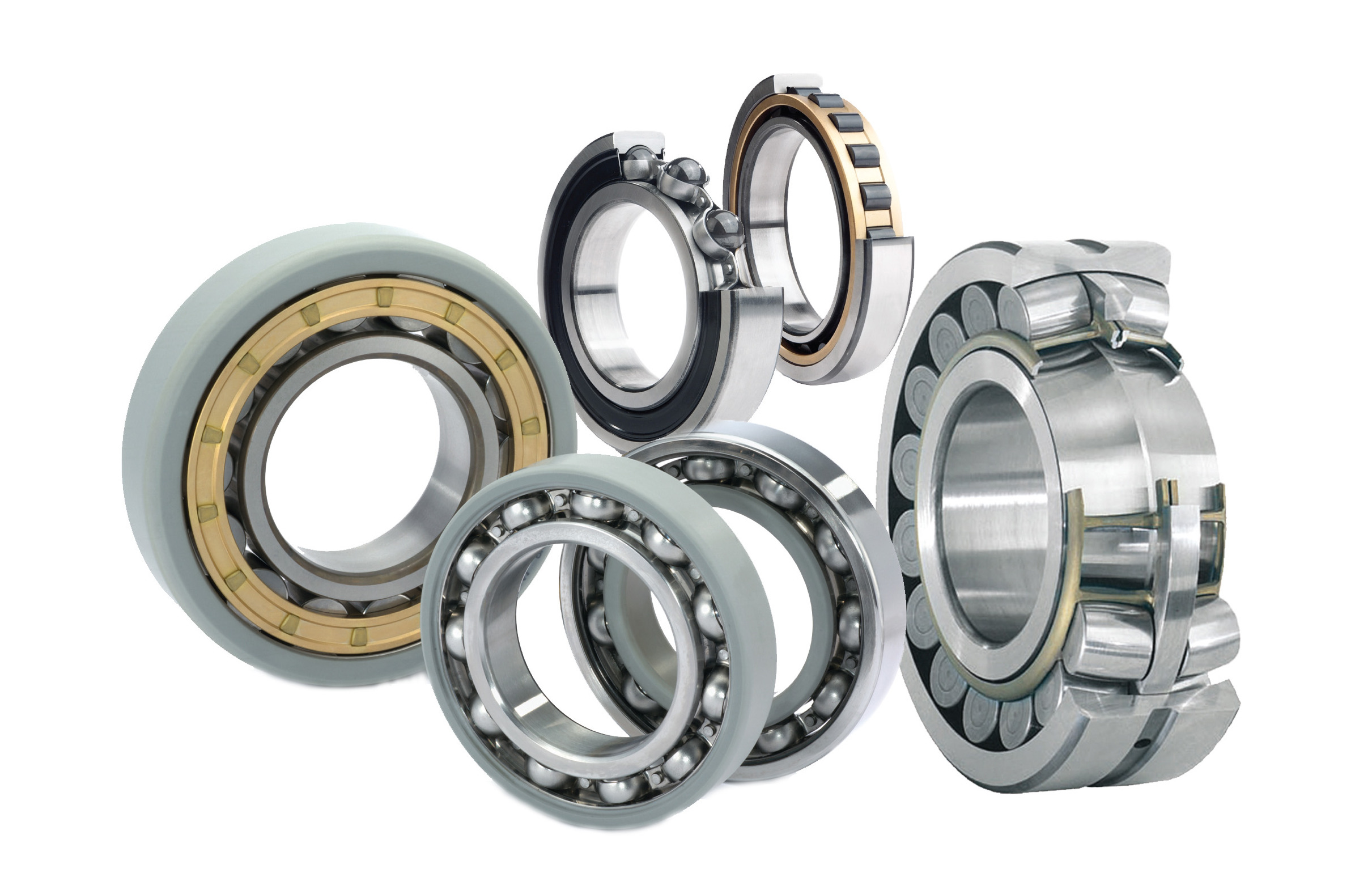 Different types of SKF bearings merged white background