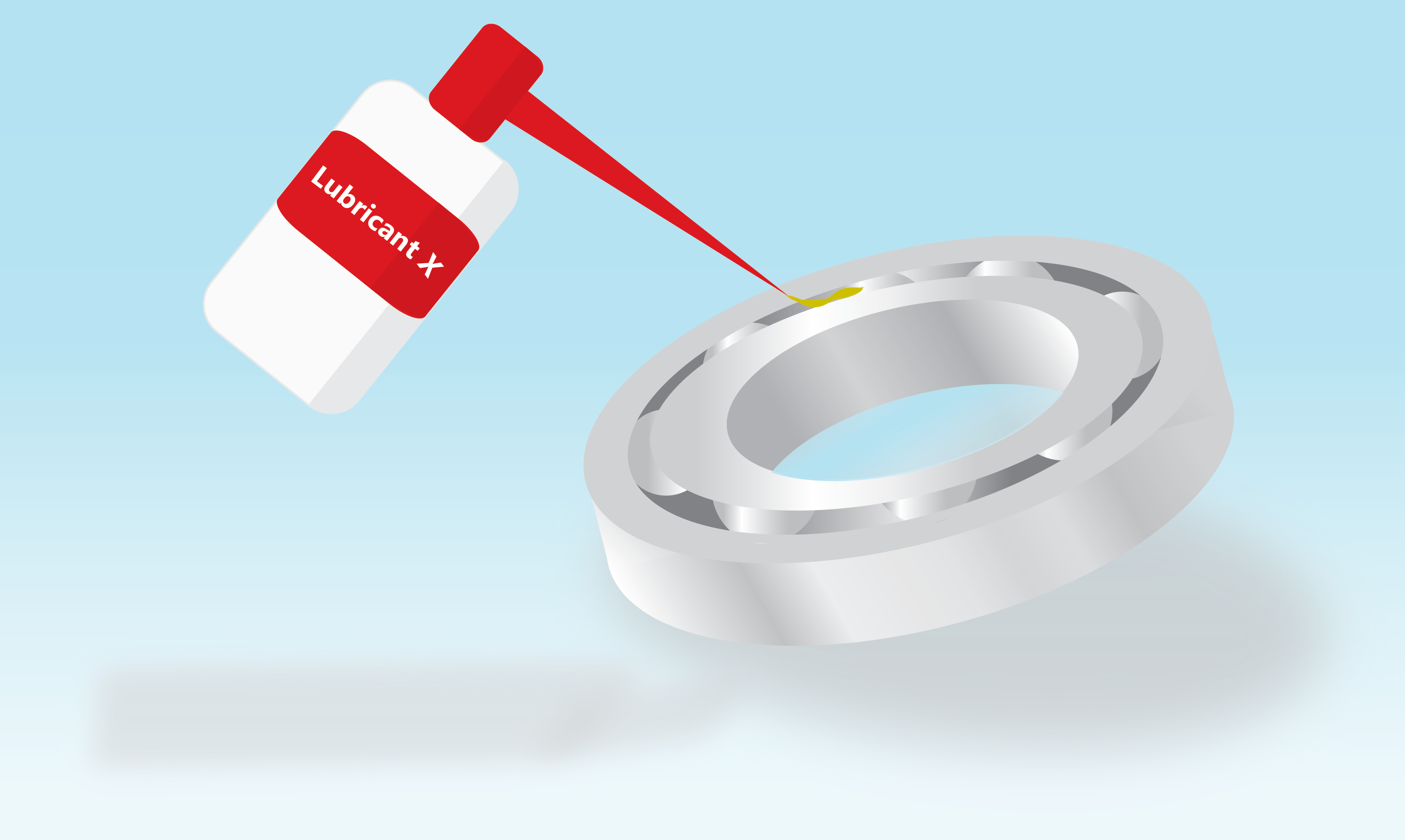 Illustration shows a lubricant applying grease on a ball bearing